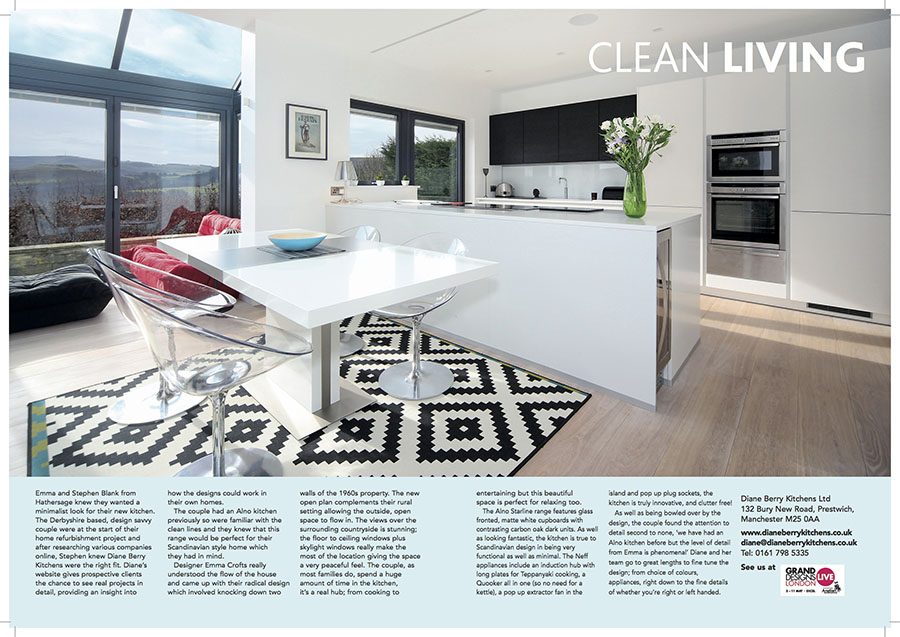 an article published in Cheshire life magazine for Diane Berry Kitchens after I was asked to show off their impressive and minimilist design and clean lines