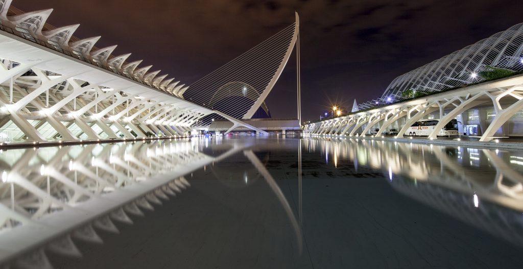 a reflection on the man made lake at Ciudad de las Artes y las Ciencias in Valencia Spain at night